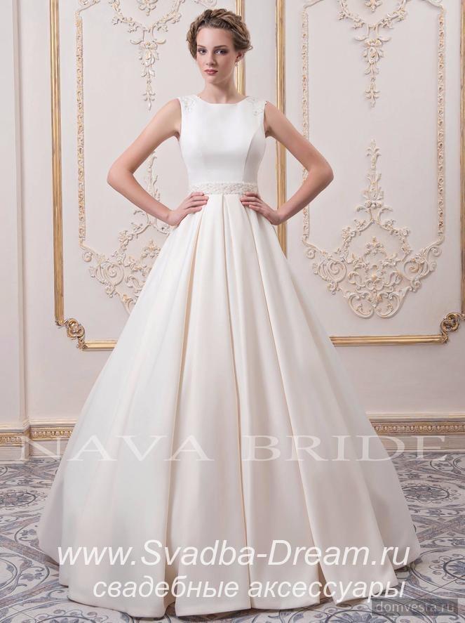 Свадебное атласное платье 80