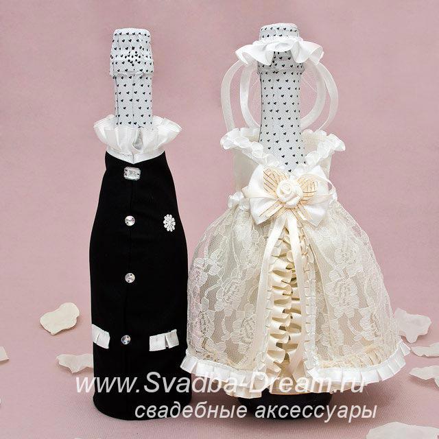 Украшение свадебных бутылок шампанского своими руками 50 фото
