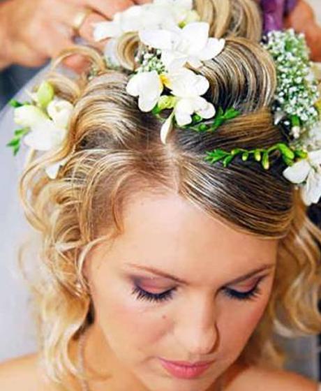 свадебные прически с живыми цветами технология