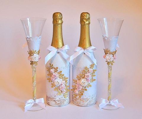 Украшение шампанского своими руками лентами мастер класс