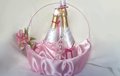 Украшения для свадебного шампанского своими руками фото